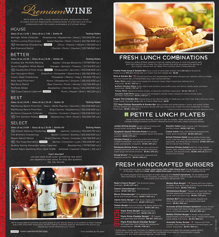 Ruby Tuesday Lunch Menu