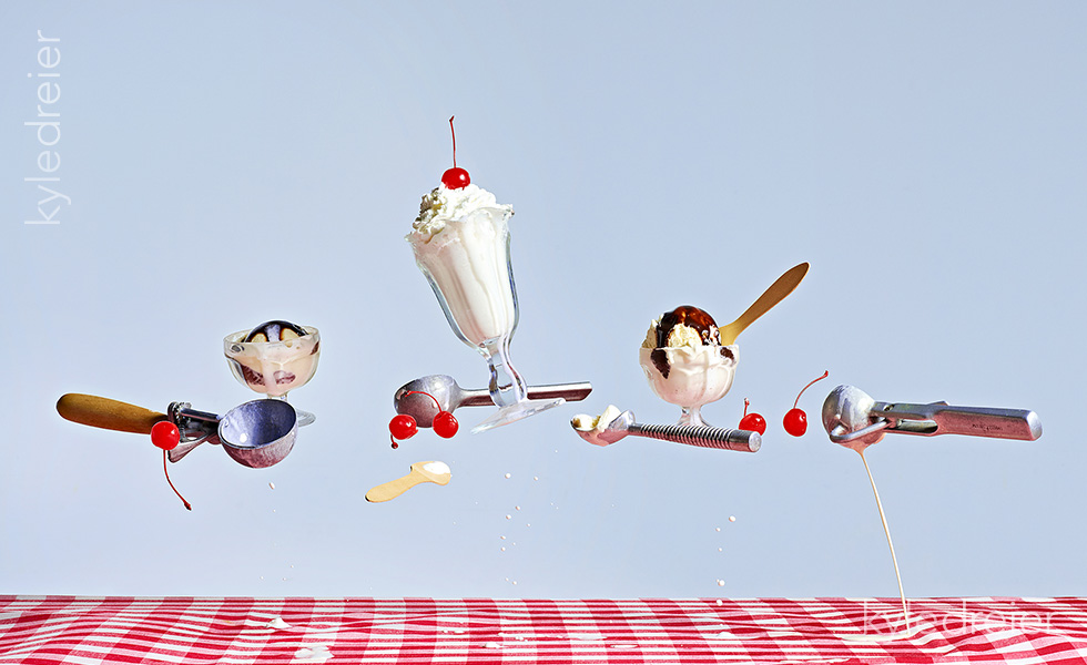 weightless flying ice cream sundae