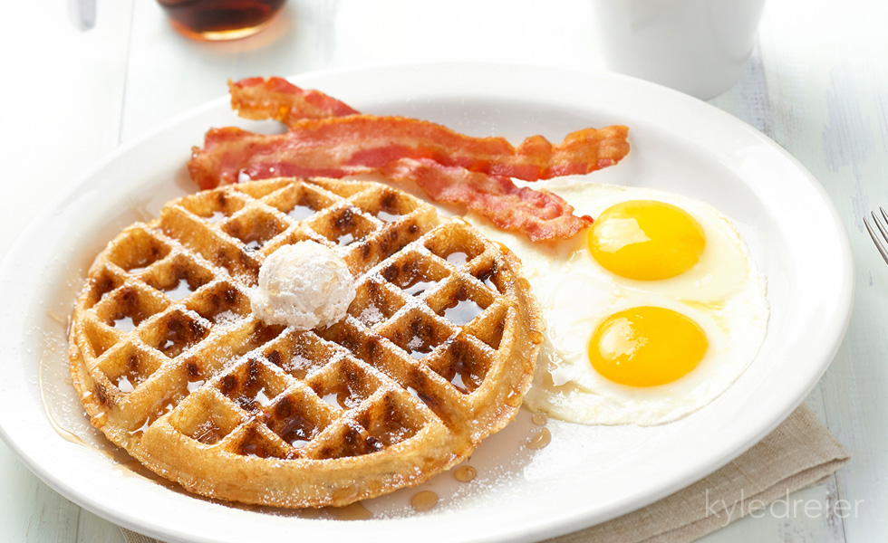 Maple Waffle, Eggs and Bacon