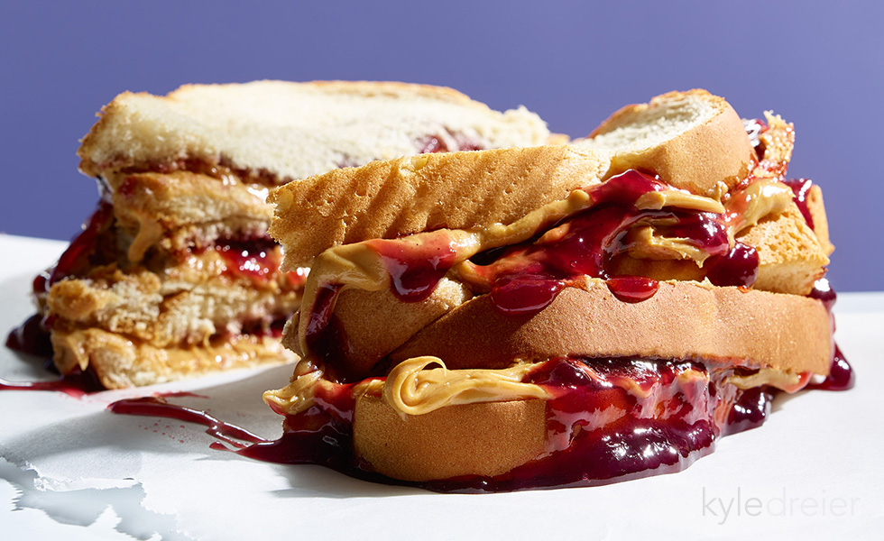 smashed peanut butter and jelly sandwich