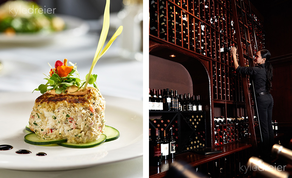 crab cake, wine wall